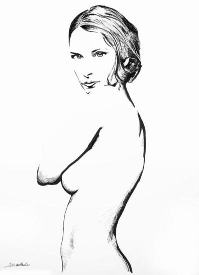 Desnudo IX Paper Felt-tip pen Nude Paintings