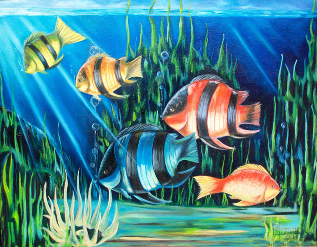 peces en fondo del mar Canvas Oil Marine Painting