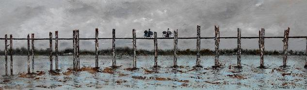 Amanecer, puente de U Bein en Birmania Tabla Paisaje