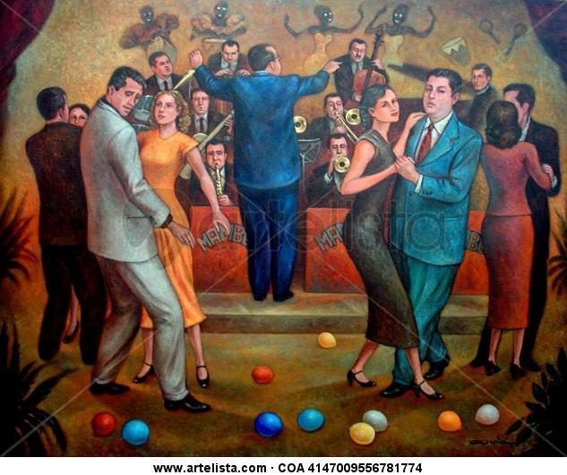 Bailando en un Cabaret de los años 50's Lienzo Óleo Otros