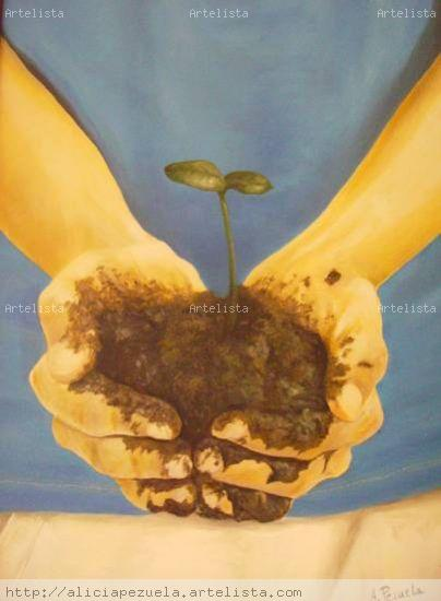 La naturaleza en tus manos Canvas Oil Figure Painting