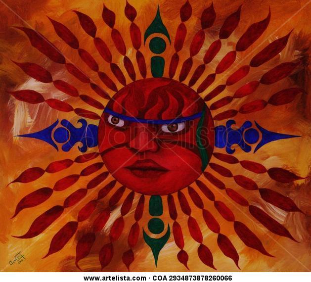 HUEHUE-TEOTL (EL VIEJO DIOS DEL FUEGO Figure Painting Acrylic Canvas