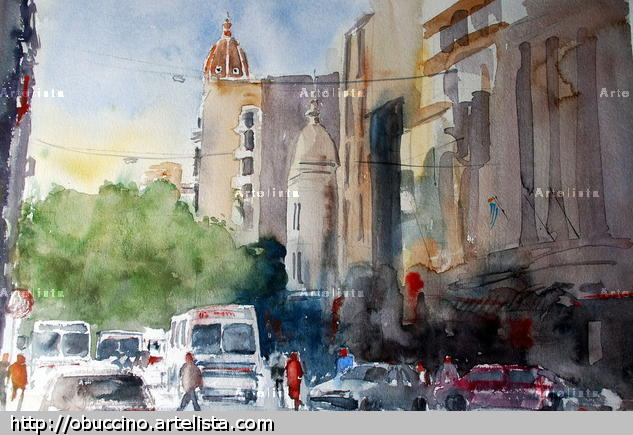 18 de julio II Paper Landscaping Watercolour