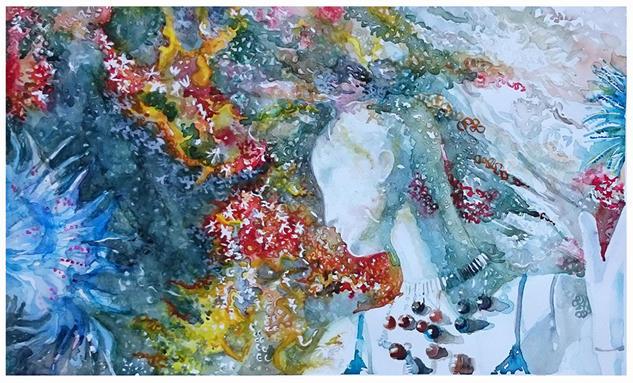 Diàlogo con la medusa Paper Watercolour Marine Painting