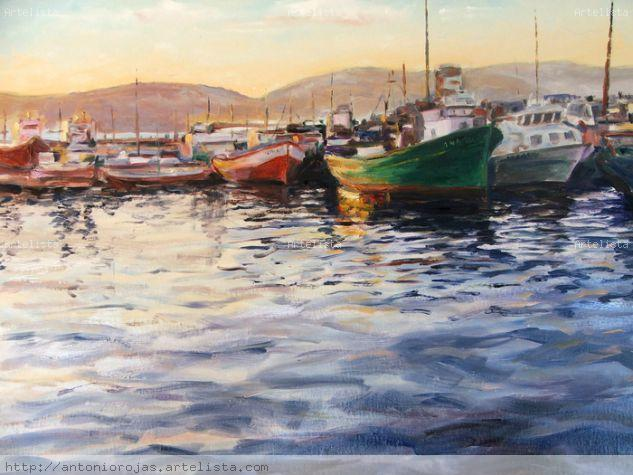Amanecer en el puerto Canvas Marine Painting Oil