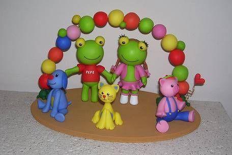 Adorno de torta Sapo Pepe y sus amigos