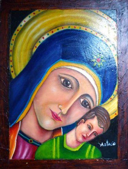Virgen Óleo Tabla Figura