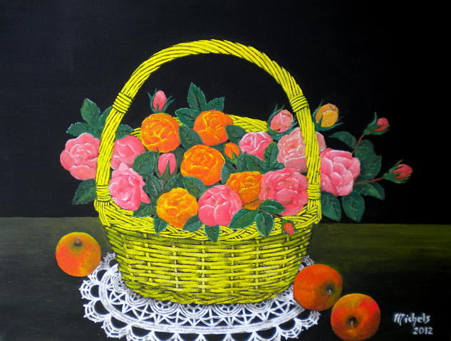 Fleurs et fruits Canvas Acrylic Still Life Paintings