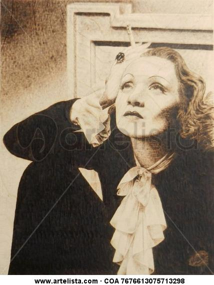 Marlene Dietrich Monoprint
