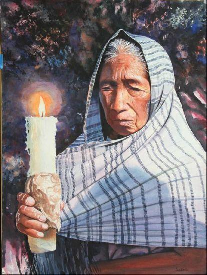 Llama de fe Cartulina Acuarela Figura