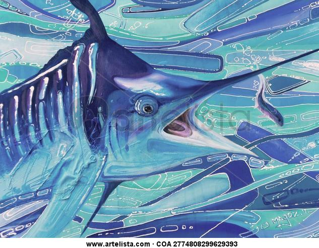 Marlin Azul Marine Painting Panel Acrylic