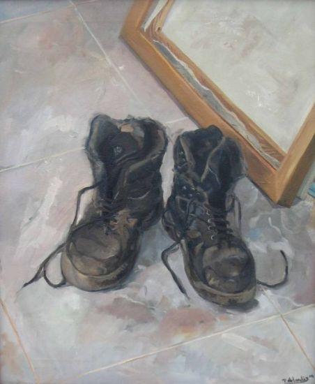 Las botas viejas Lienzo Óleo Bodegones