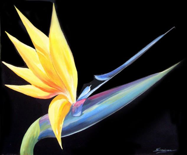 Beauty of Birds of Paradise Acrlico Floral Lienzo