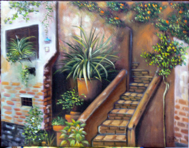 EL PATIO ANDALUZ Canvas Landscaping Oil