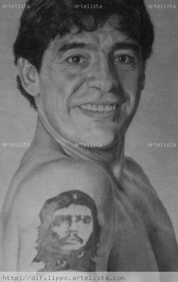 Retrato de Diego Maradona Lápiz