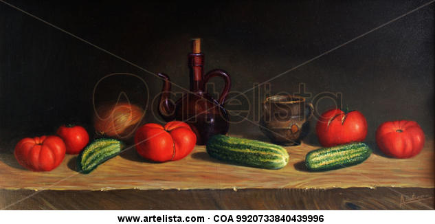 La ensalada Still Life Paintings Oil Panel
