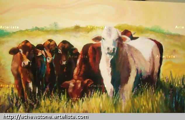 Vacas en el Chaco Canvas Oil Animals
