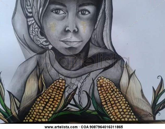 mujer del maiz Papel Lápiz (Negro) Retrato