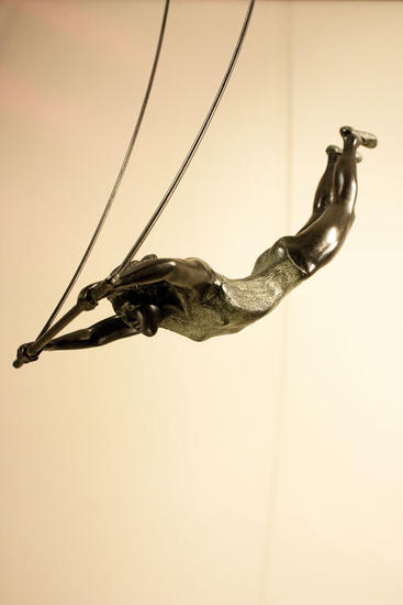 Trapecista con soporte en las manos Bronze Figurative