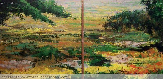 Diptico en verde Panel Acrylic Landscaping