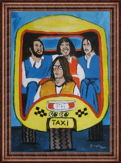 Los Beatles en un Coco taxi Acrílico Lienzo Retrato