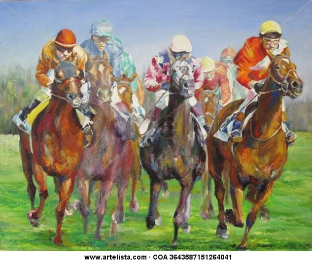 CARRERA DE CABALLOS 5 Panel Oil Sports