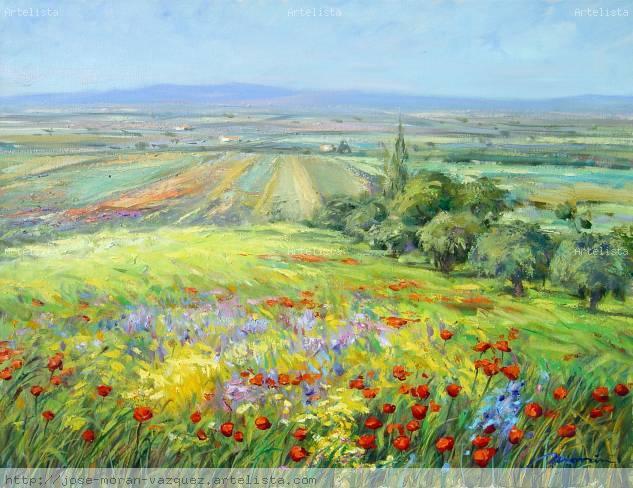 paisaje con olivos en primavera Lienzo Óleo Paisaje
