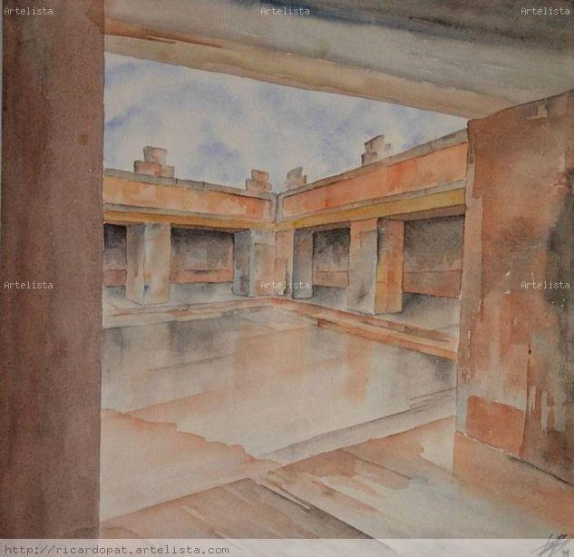TEMPLO EN TEOTIHUACAN Watercolour Panel Landscaping