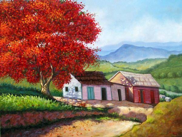 Flamboyán con casas campesinas Óleo Tela Paisaje