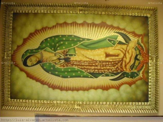 pintura  al oleo  virgen de guadalupe con marco