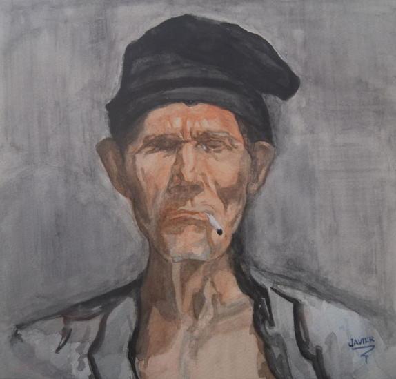 Viejo pescador Cartulina Acuarela Retrato