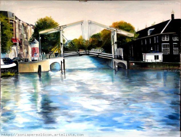 Uno de los puentes más visitados de Amsterdam. Canvas Oil Landscaping