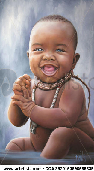 NIÑO DE ÁFRICA 54 Canvas Oil Figure Painting