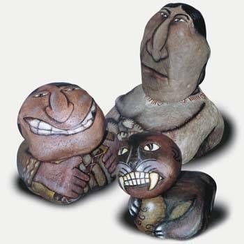 hijos de mi tierra (3 piezas) Piedra Figurativa