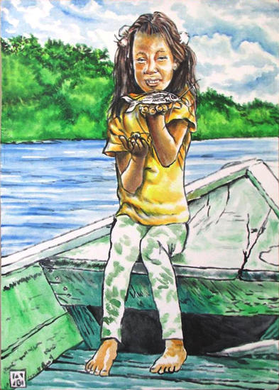 Taira, la niña del peque-peque (niña con dos bagres) Retrato Acrílico Lienzo