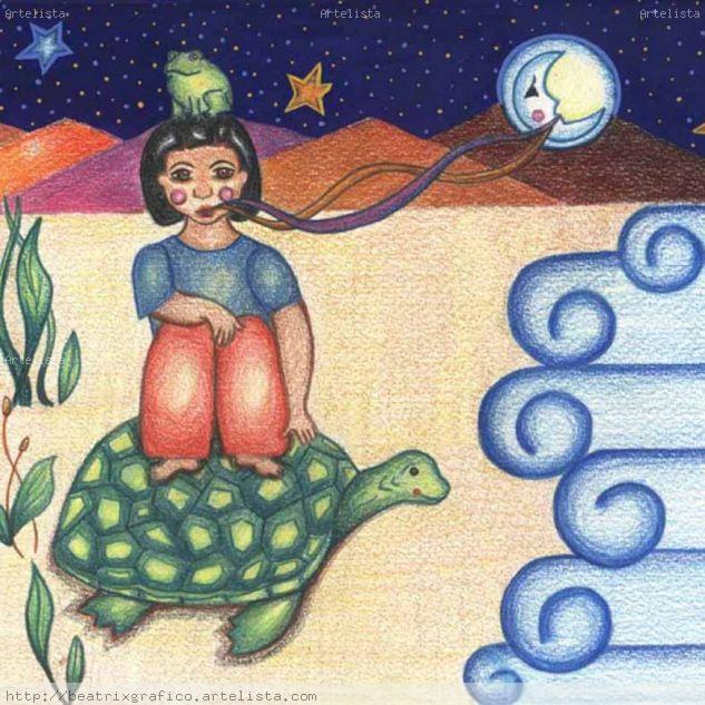 sabe a luna y mar Landscaping Paper Pencil (coloured)