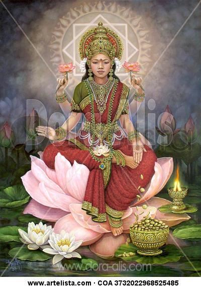 DEVI LAKSHMI - MAHA LAKSHMI Canvas Oil Figure Painting
