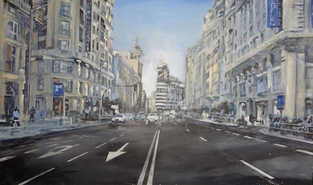 Gran Via Madrid Lienzo Media Mixta Paisaje