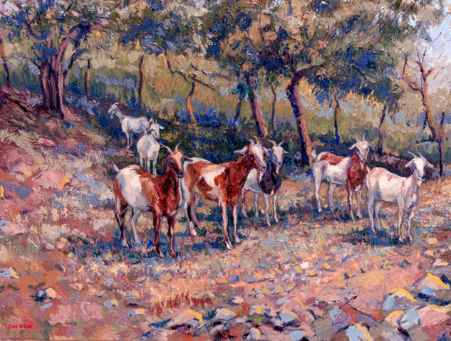 Cabras en el corral Canvas Oil Animals