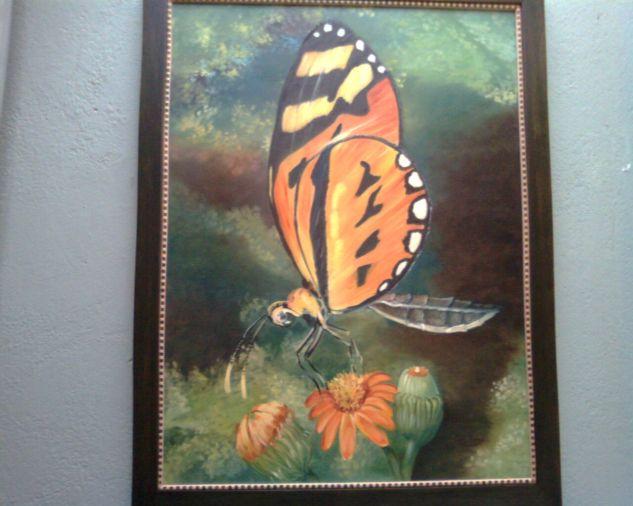 Mariposa Monarca Óleo Lienzo Animales