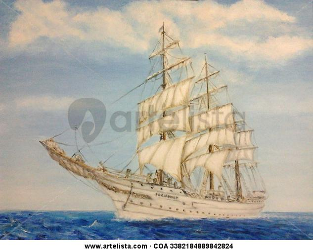 BARCO VELERO EN MAR AIL Canvas Acrylic Marine Painting