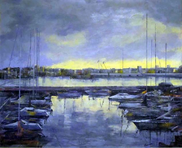 AMANECER EN EL PUERTO Oil Canvas Marine Painting