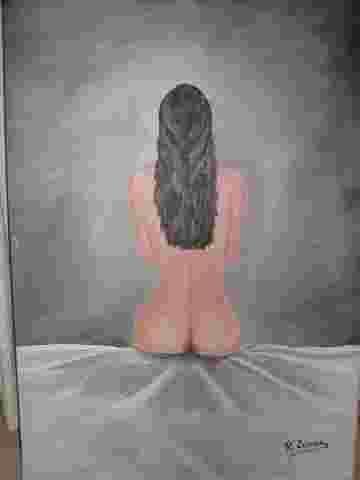 Mujer de espaldas Acrílico Lienzo Retrato