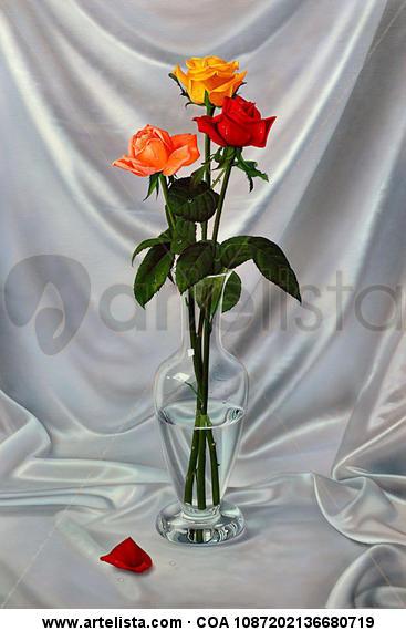 jarrón con tres rosas (PY-1715) Lienzo Óleo Bodegones