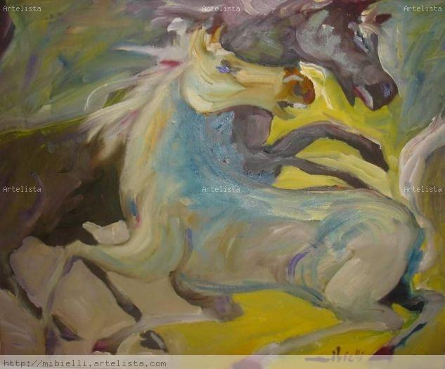 Cavalos em movimento Oil Panel Animals