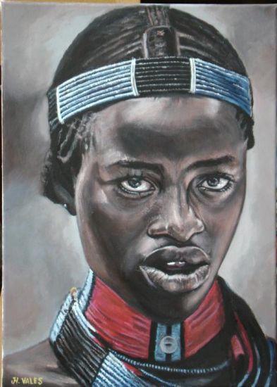 Moza africana 2 (serie África ). Acrílico Lienzo Retrato