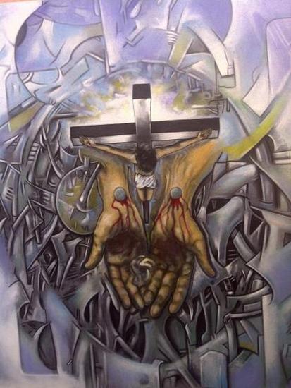 De la Serie Laberinto - Cristo 2 Lienzo Acr�lico Figura
