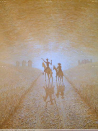 Don Quijote y Sancho en ocres palidos Óleo Lienzo Figura