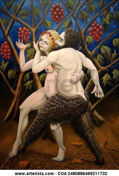 Sátiro e Ninfa caminhando Desnudos Óleo Lienzo