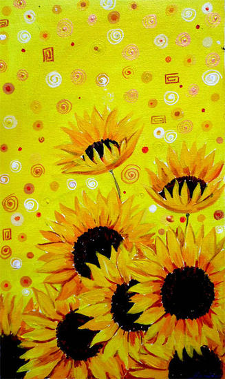 Sunflowers Beauty Acrylic Floral Painting Canvas